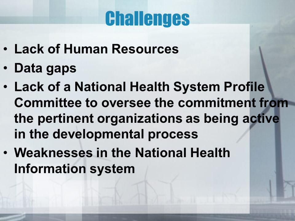Challenges Lack of Human Resources Data gaps Lack of a National Health System Profile Committee to oversee the commitment from the pertinent organizations as being active in the developmental process Weaknesses in the National Health Information system