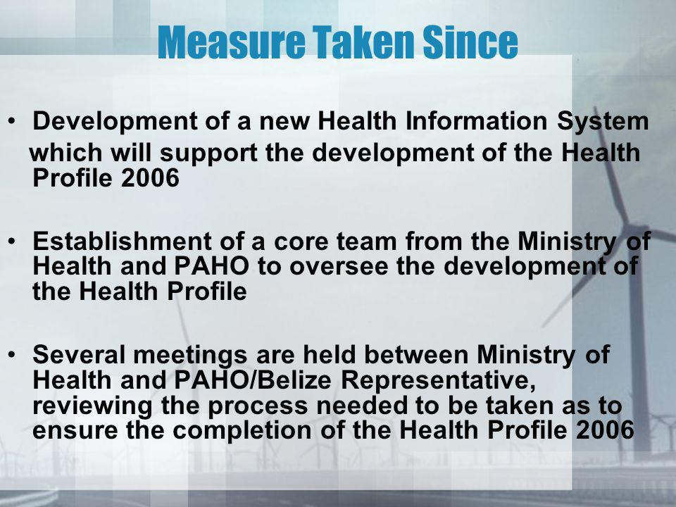 Recommendations Strengthening of the Statistics component of the Epidemiology Unit, MOH Establish a Committee to oversee the smooth transition in developing present and future Health Profiles Identify and address data gaps Continuing leading role of PAHO/WHO for the development of the document