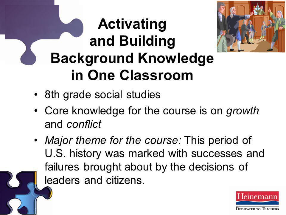 Activating and Building Background Knowledge in One Classroom 8th grade social studies Core knowledge for the course is on growth and conflict Major t