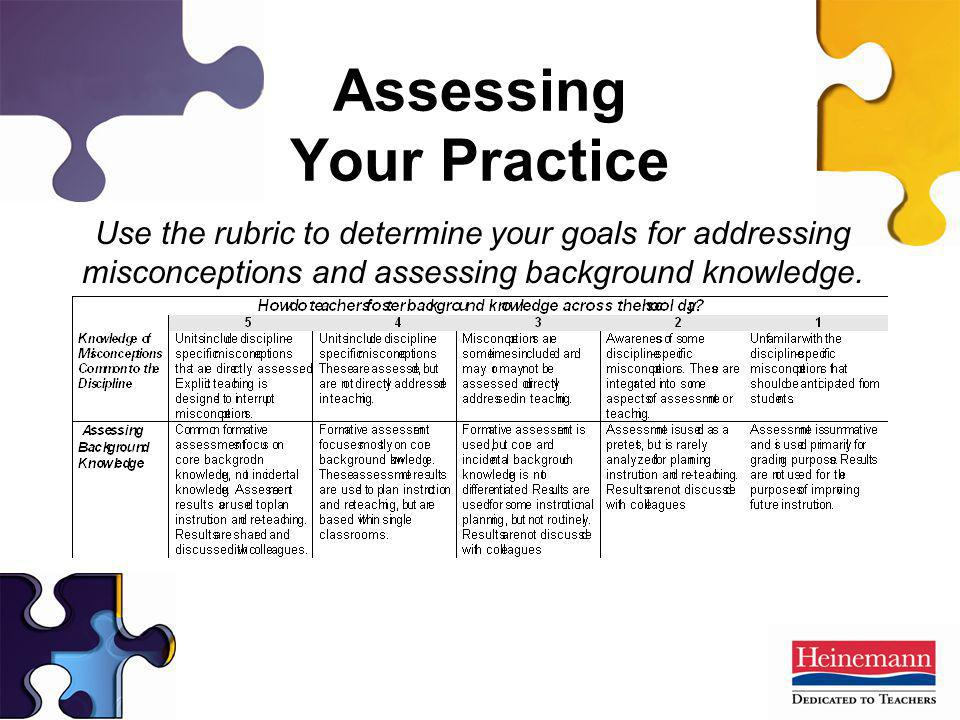 Assessing Your Practice Use the rubric to determine your goals for addressing misconceptions and assessing background knowledge.
