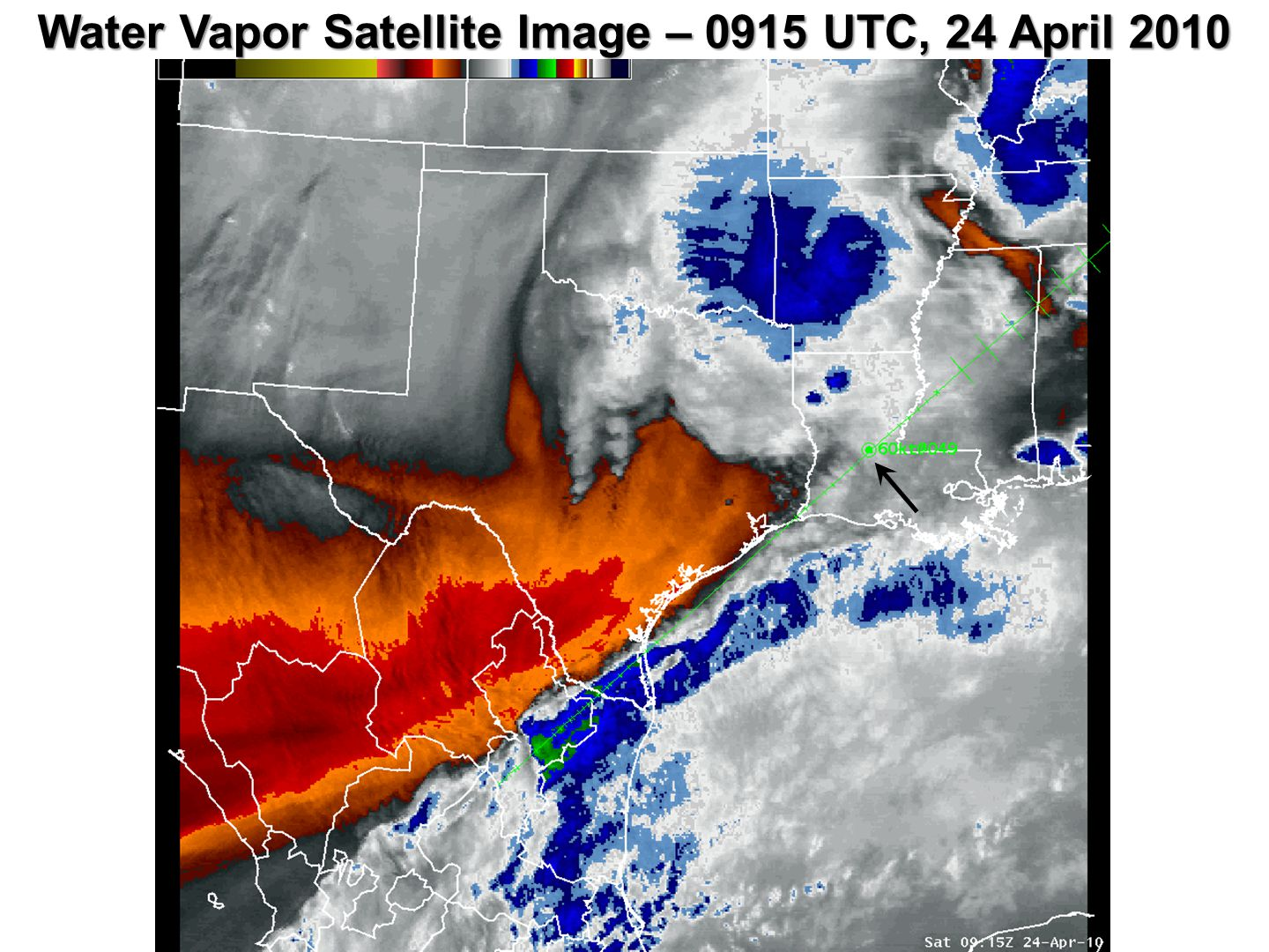 Water Vapor Satellite Image – 0915 UTC, 24 April 2010
