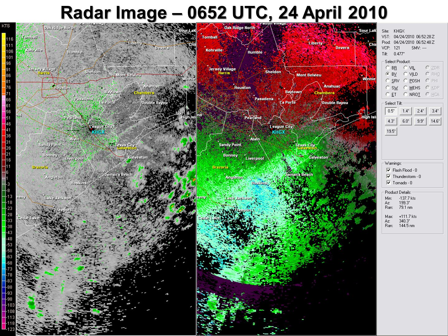 Radar Image – 0652 UTC, 24 April 2010
