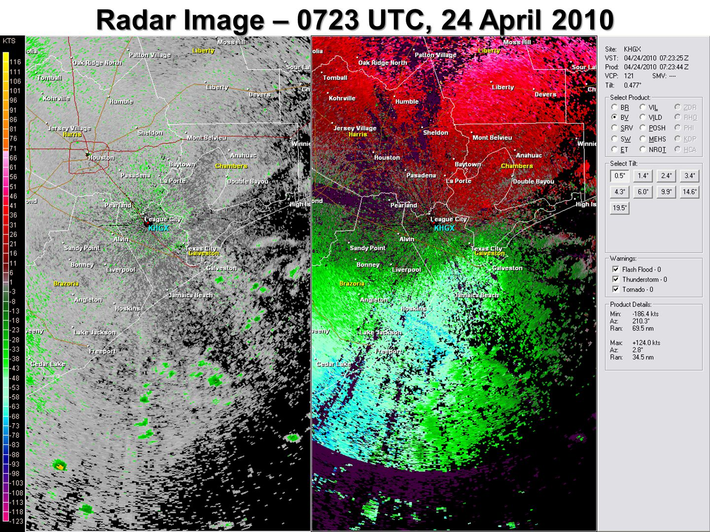 Radar Image – 0723 UTC, 24 April 2010