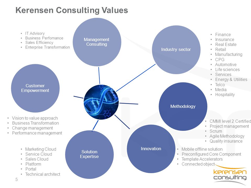 5 Kerensen Consulting Values Management Consulting Industry sector MethodologyInnovation Solution Expertise Customer Empowerment CMMI level 2 Certifie