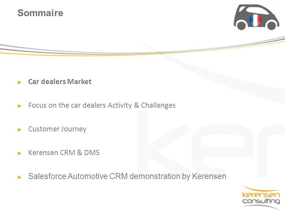  Car dealers Market  Focus on the car dealers Activity & Challenges  Customer Journey  Kerensen CRM & DMS  Salesforce Automotive CRM demonstratio