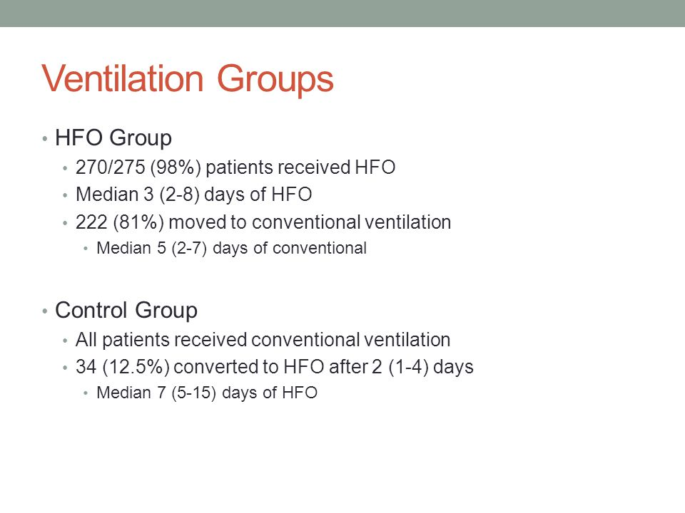 Ventilation Groups HFO Group 270/275 (98%) patients received HFO Median 3 (2-8) days of HFO 222 (81%) moved to conventional ventilation Median 5 (2-7) days of conventional Control Group All patients received conventional ventilation 34 (12.5%) converted to HFO after 2 (1-4) days Median 7 (5-15) days of HFO