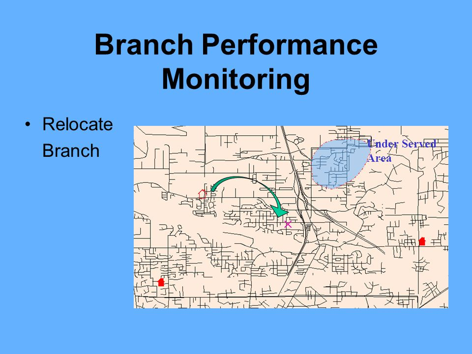 Branch Performance Monitoring Relocate Branch Under Served Area