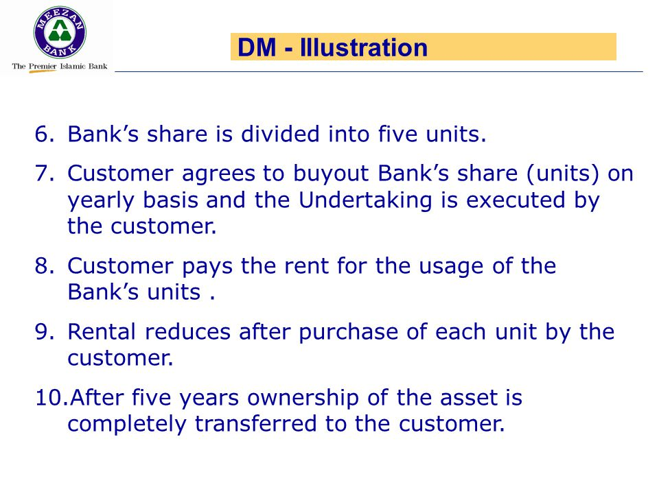 6.Bank's share is divided into five units. 7.Customer agrees to buyout Bank's share (units) on yearly basis and the Undertaking is executed by the cus