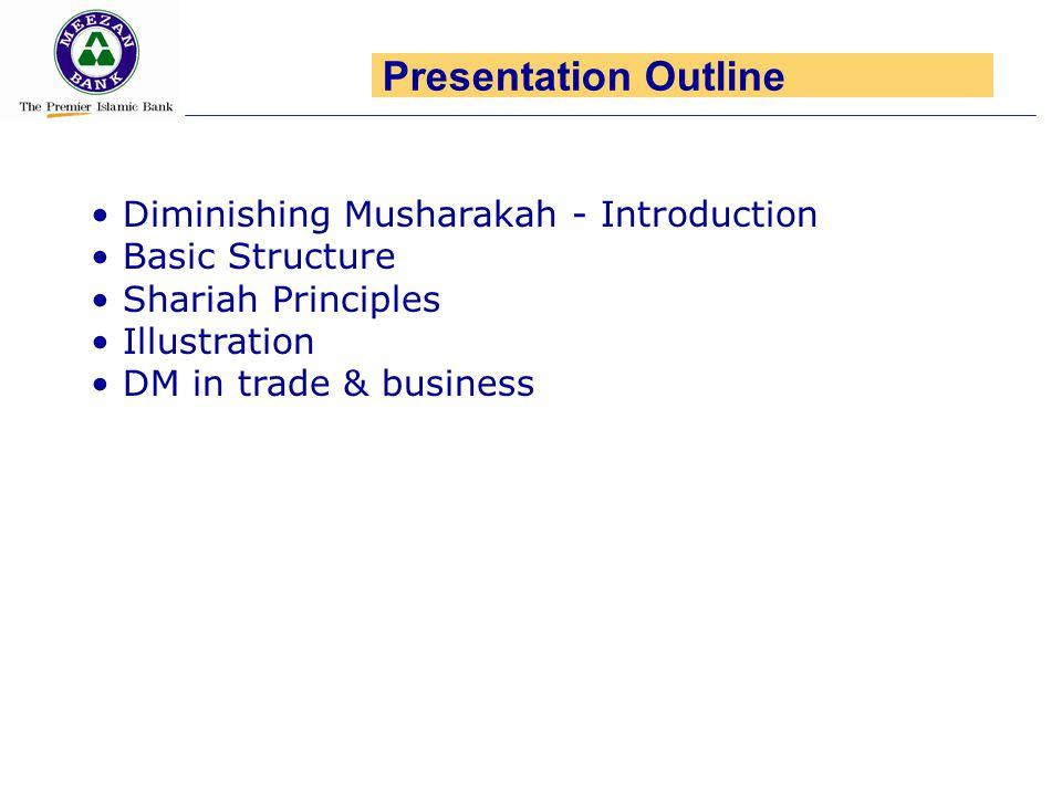 Diminishing Musharakah - Introduction Basic Structure Shariah Principles Illustration DM in trade & business Presentation Outline