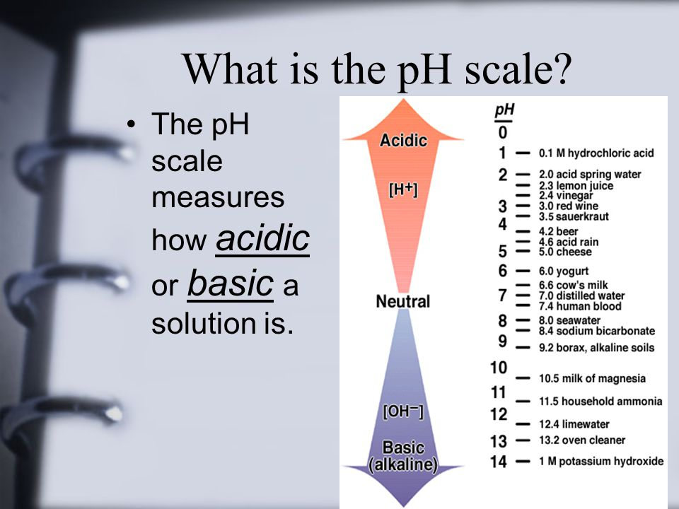 What is the pH scale The pH scale measures how acidic or basic a solution is.