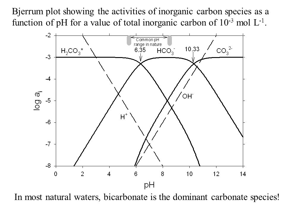 Bjerrum plot showing the activities of inorganic carbon species as a function of pH for a value of total inorganic carbon of 10 -3 mol L -1. In most n