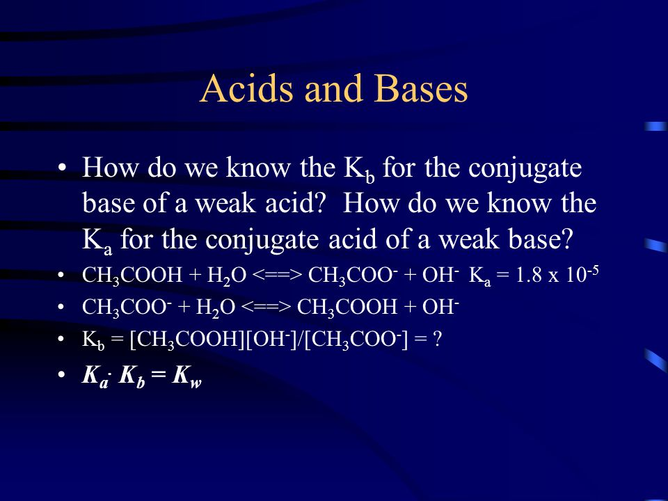 Acids and Bases How do we know the K b for the conjugate base of a weak acid? How do we know the K a for the conjugate acid of a weak base? CH 3 COOH