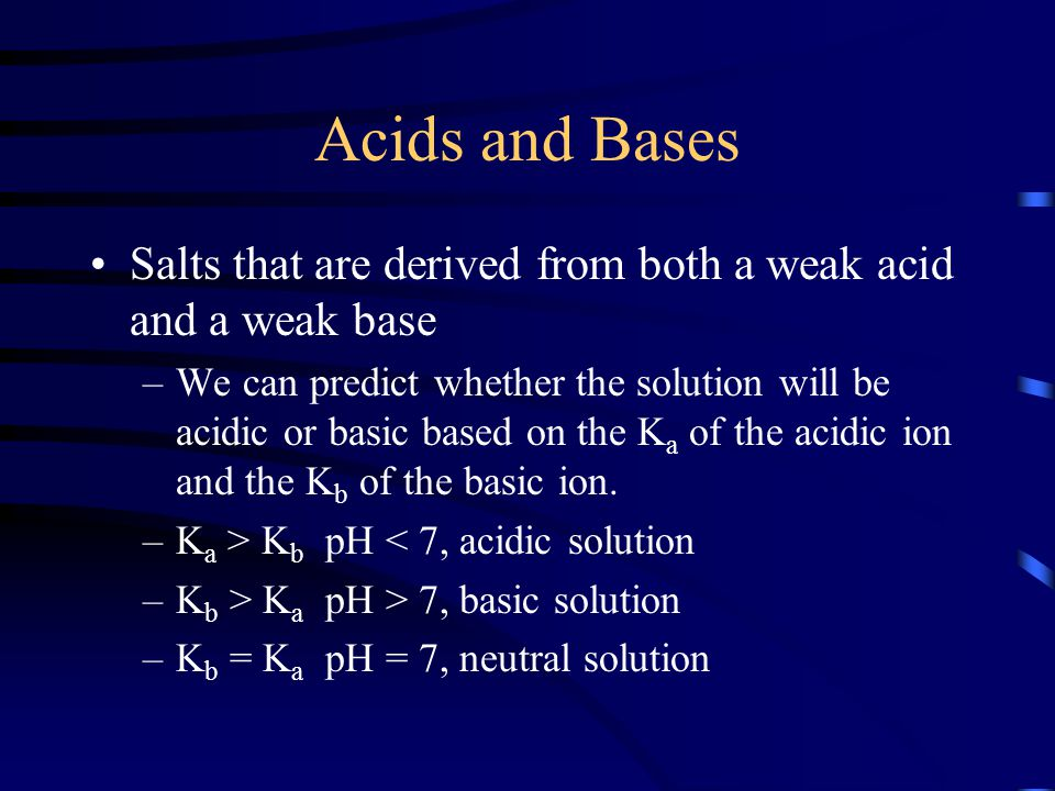Acids and Bases Salts that are derived from both a weak acid and a weak base –We can predict whether the solution will be acidic or basic based on the