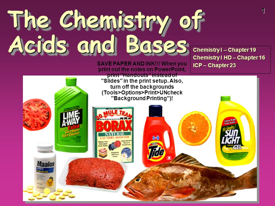1 The Chemistry of Acids and Bases Chemistry I – Chapter 19 Chemistry I HD – Chapter 16 ICP – Chapter 23 SAVE PAPER AND INK!!! When you print out the