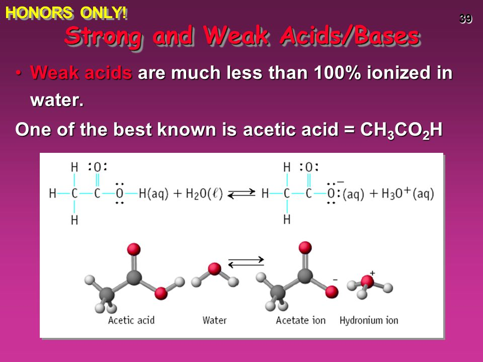 39 Weak acids are much less than 100% ionized in water.Weak acids are much less than 100% ionized in water. One of the best known is acetic acid = CH