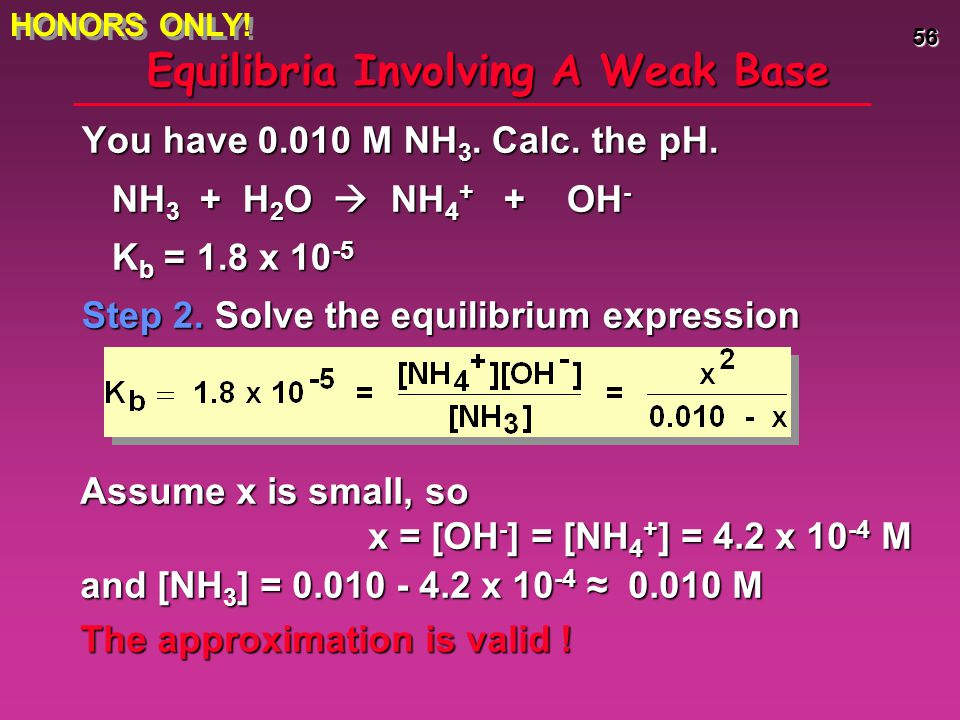 56 Equilibria Involving A Weak Base You have 0.010 M NH 3. Calc. the pH. NH 3 + H 2 O  NH 4 + + OH - NH 3 + H 2 O  NH 4 + + OH - K b = 1.8 x 10 -5 S