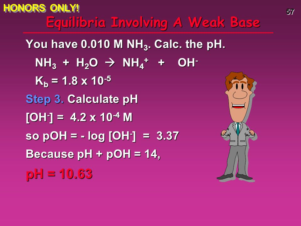 57 Equilibria Involving A Weak Base You have 0.010 M NH 3. Calc. the pH. NH 3 + H 2 O  NH 4 + + OH - NH 3 + H 2 O  NH 4 + + OH - K b = 1.8 x 10 -5 S