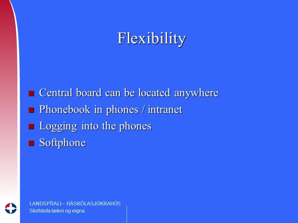 LANDSPÍTALI – HÁSKÓLASJÚKRAHÚS Skrifstofa tækni og eigna Flexibility n Central board can be located anywhere n Phonebook in phones / intranet n Logging into the phones n Softphone