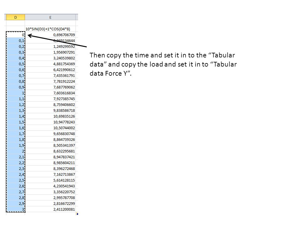 Then copy the time and set it in to the Tabular data and copy the load and set it in to Tabular data Force Y .