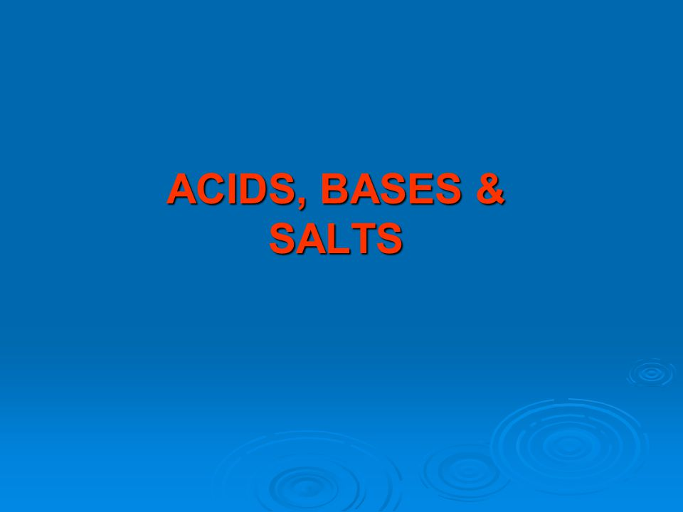 Topic 10: ACIDS, BASES & SALTS2 T E R M S ACIDS are substances that form hydrogen ions (H + (aq) ) when dissolved in water eg ACIDS are substances that form hydrogen ions (H + (aq) ) when dissolved in water eg Hydrochloric acid HCl gives H + (aq) and C l- (aq) ions, Hydrochloric acid HCl gives H + (aq) and C l- (aq) ions, Sulphuric acid H 2 SO 4 gives 2H + (aq) and SO 4 2- ions Sulphuric acid H 2 SO 4 gives 2H + (aq) and SO 4 2- ions Nitric acid HNO 3 gives H + (aq) and NO 3 - (aq) ions.Nitric acid HNO 3 gives H + (aq) and NO 3 - (aq) ions.