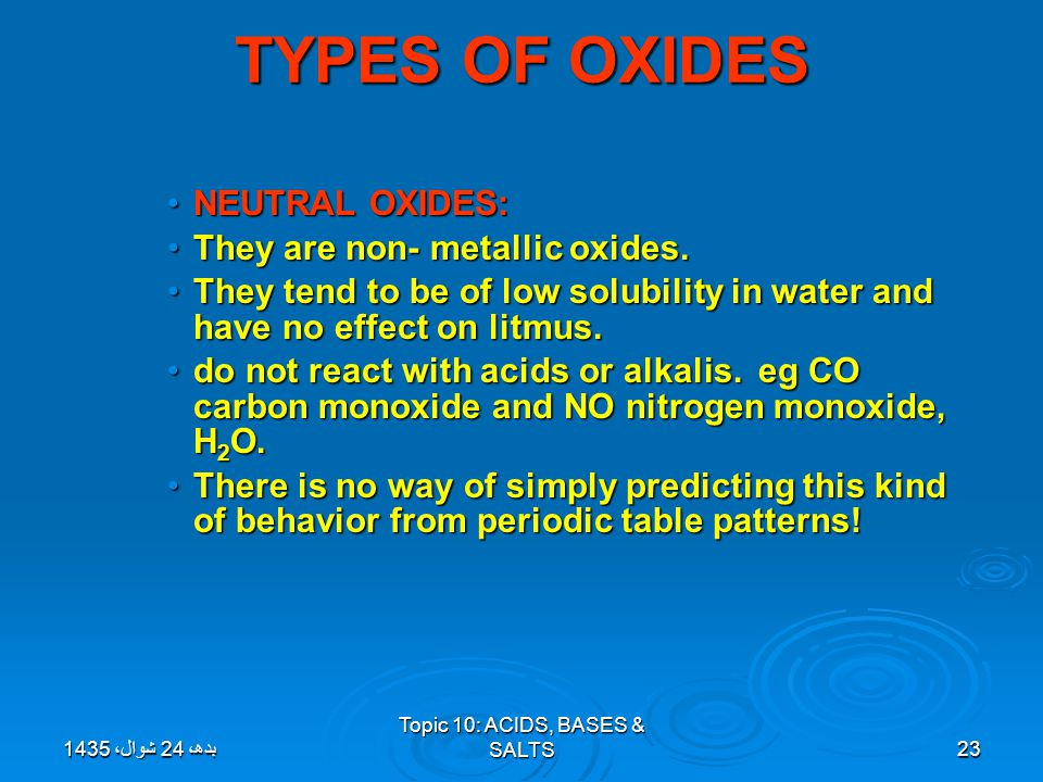 Topic 10: ACIDS, BASES & SALTS23 TYPES OF OXIDES NEUTRAL OXIDES:NEUTRAL OXIDES: They are non- metallic oxides.They are non- metallic oxides. They tend