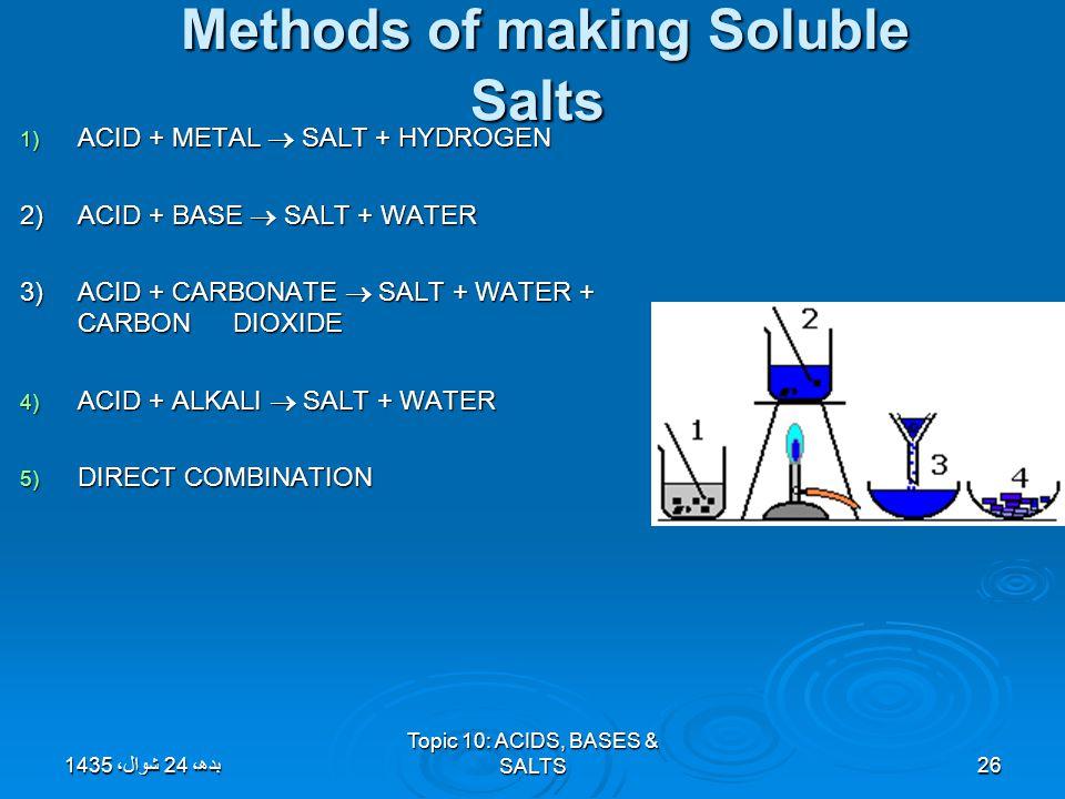 Topic 10: ACIDS, BASES & SALTS26 Methods of making Soluble Salts Methods of making Soluble Salts 1) ACID + METAL  SALT + HYDROGEN 2)ACID + BASE  SAL