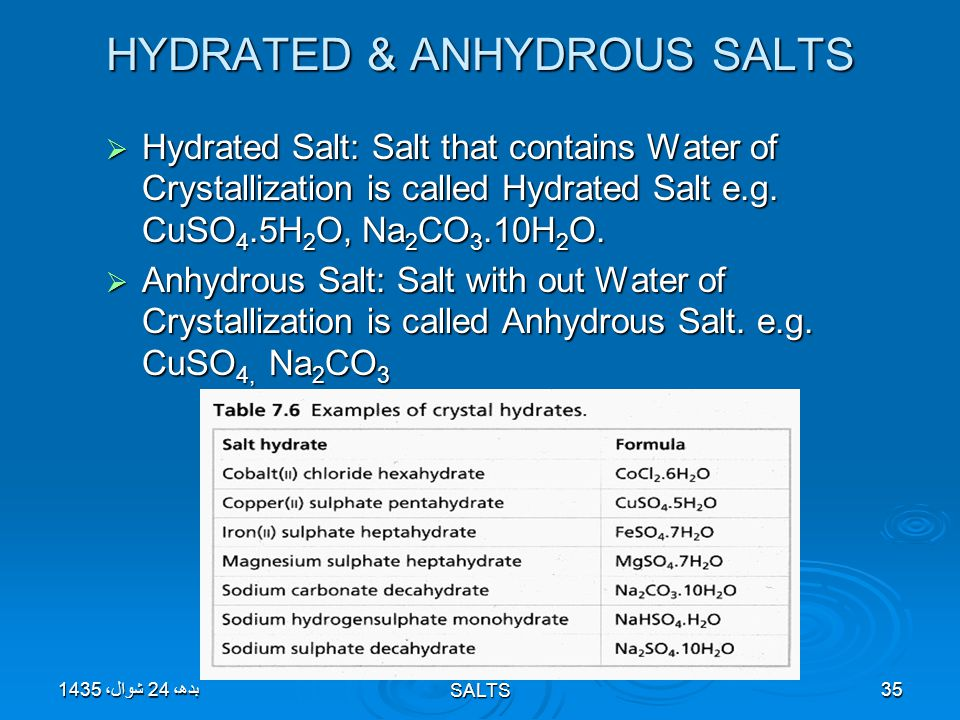 Topic 10: ACIDS, BASES & SALTS35 HYDRATED & ANHYDROUS SALTS  Hydrated Salt: Salt that contains Water of Crystallization is called Hydrated Salt e.g.