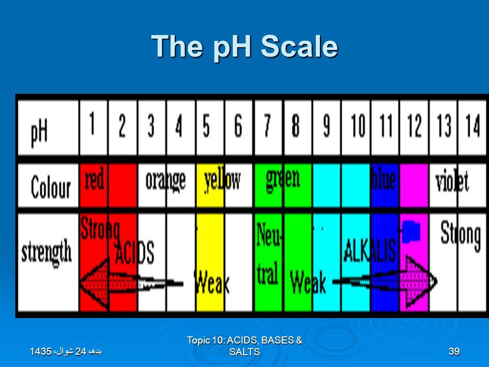 Topic 10: ACIDS, BASES & SALTS39 The pH Scale بدھ، 24 شوال، 1435بدھ، 24 شوال، 1435بدھ، 24 شوال، 1435بدھ، 24 شوال، 1435بدھ، 24 شوال، 1435بدھ، 24 شوال،
