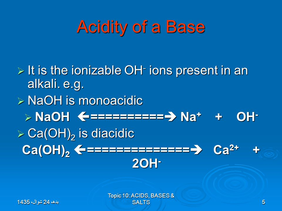 Topic 10: ACIDS, BASES & SALTS16 Formation of Hydronium ion( H 3 0 + ).