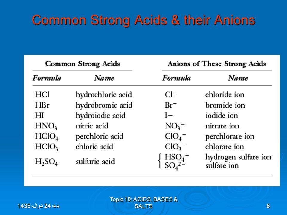 Topic 10: ACIDS, BASES & SALTS6 Common Strong Acids & their Anions بدھ، 24 شوال، 1435بدھ، 24 شوال، 1435بدھ، 24 شوال، 1435بدھ، 24 شوال، 1435بدھ، 24 شوا