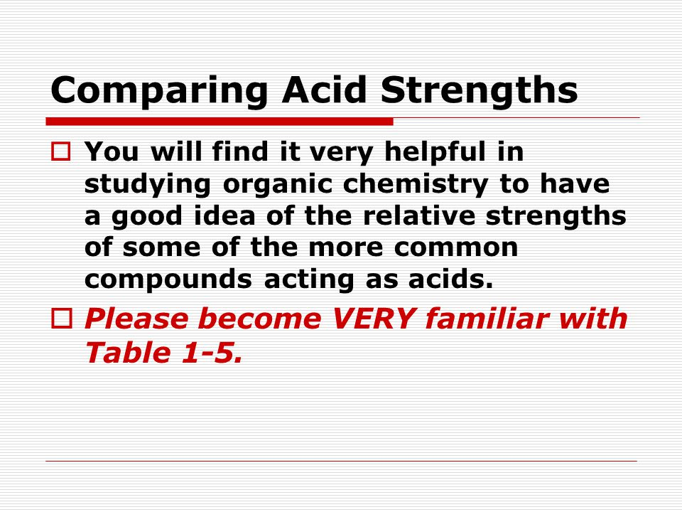 Comparing Acid Strengths  You will find it very helpful in studying organic chemistry to have a good idea of the relative strengths of some of the more common compounds acting as acids.