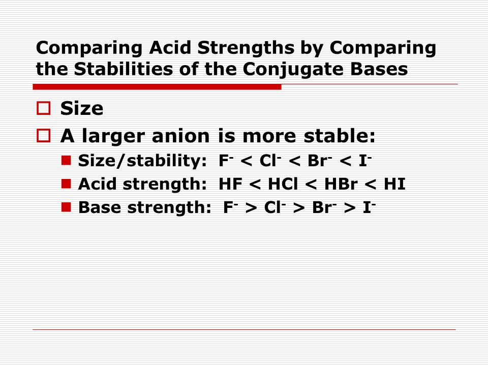 Comparing Acid Strengths by Comparing the Stabilities of the Conjugate Bases  Size  A larger anion is more stable: Size/stability: F - < Cl - < Br -