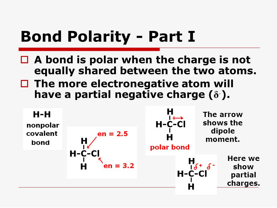 Bond Polarity - Part I  A bond is polar when the charge is not equally shared between the two atoms.