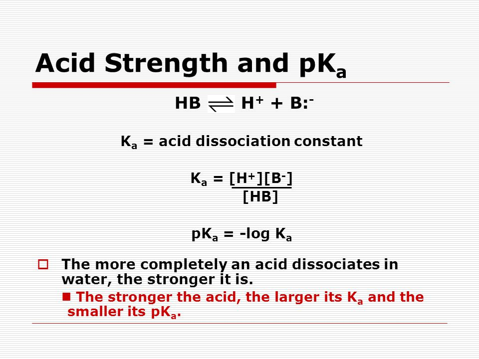 Acid Strength and pK a HB H + + B: - K a = acid dissociation constant K a = [H + ][B - ] [HB] pK a = -log K a  The more completely an acid dissociates in water, the stronger it is.