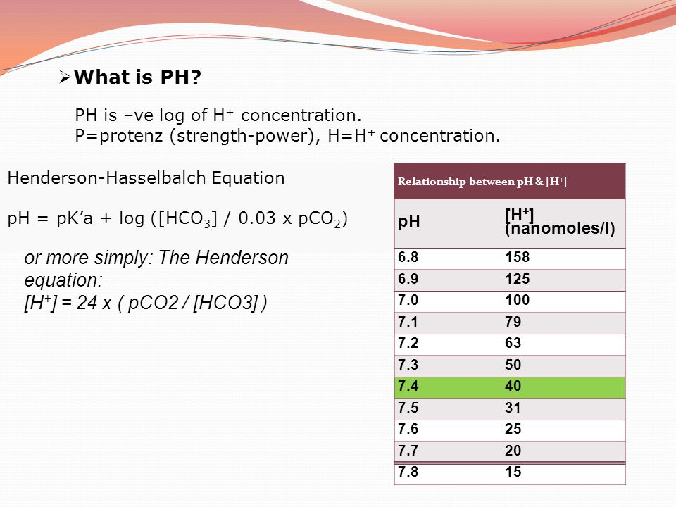  What is PH? PH is –ve log of H + concentration. P=protenz (strength-power), H=H + concentration. Henderson-Hasselbalch Equation pH = pK'a + log ([HC