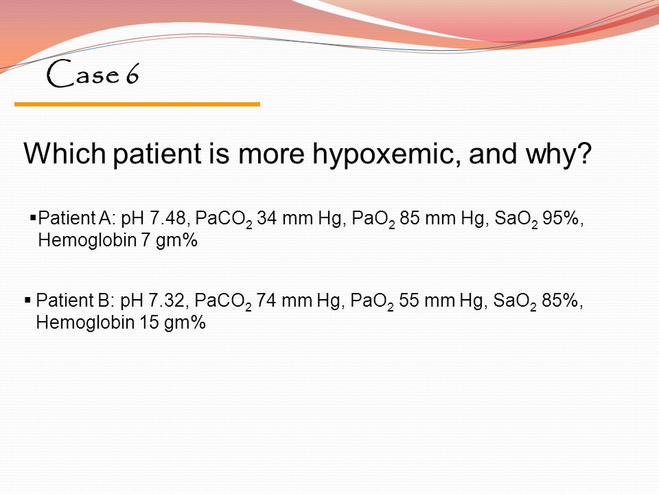 Case 6 Which patient is more hypoxemic, and why?  Patient A: pH 7.48, PaCO 2 34 mm Hg, PaO 2 85 mm Hg, SaO 2 95%, Hemoglobin 7 gm%  Patient B: pH 7.