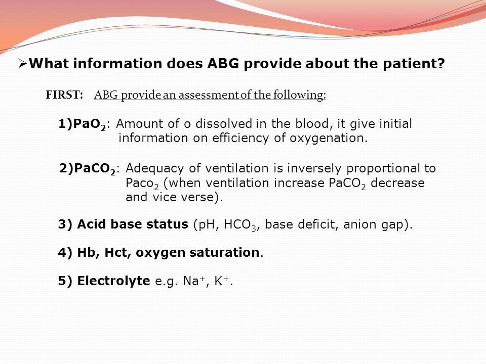 ABG Analysis reveals: F i O 2 0.5 pH7.10 PaCO 2 6.0 kPa (45 mmHg) PaO 2 7.5 kPa(56 mmHg) HCO 3 - 14 mmol l -1 BE- 10 mmol l -1