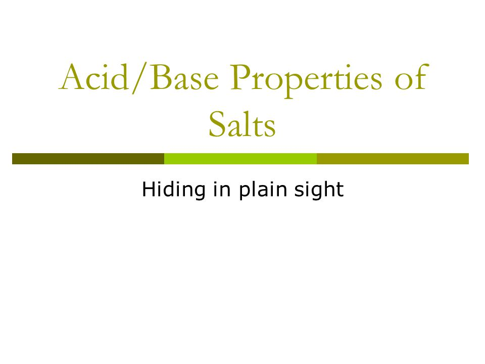 Acid/Base Properties of Salts Hiding in plain sight