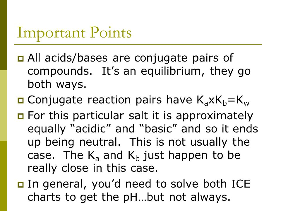 Important Points  All acids/bases are conjugate pairs of compounds.