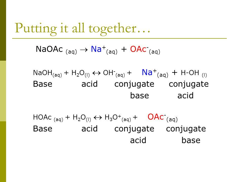 Putting it all together… NaOAc (aq)  Na + (aq) + OAc - (aq) NaOH (aq) + H 2 O (l)  OH - (aq) + Na + (aq) + H-OH (l) Baseacid conjugate conjugate base acid HOAc (aq) + H 2 O (l)  H 3 O + (aq) + OAc - (aq) Baseacid conjugate conjugate acid base