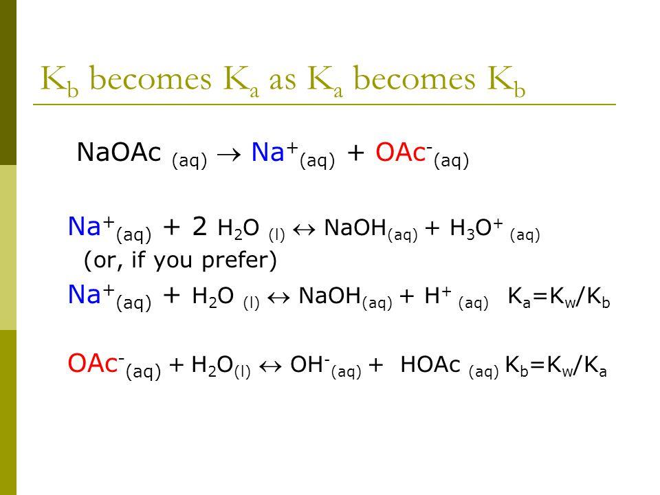 K b becomes K a as K a becomes K b NaOAc (aq)  Na + (aq) + OAc - (aq) Na + (aq) + 2 H 2 O (l)  NaOH (aq) + H 3 O + (aq) (or, if you prefer) Na + (aq) + H 2 O (l)  NaOH (aq) + H + (aq) K a =K w /K b OAc - (aq) + H 2 O (l)  OH - (aq) + HOAc (aq) K b =K w /K a