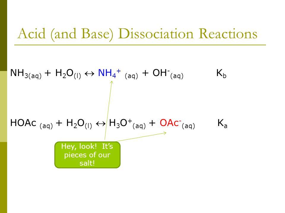 Acid (and Base) Dissociation Reactions NH 3(aq) + H 2 O (l)  NH 4 + (aq) + OH - (aq) K b HOAc (aq) + H 2 O (l)  H 3 O + (aq) + OAc - (aq) K a Hey, l