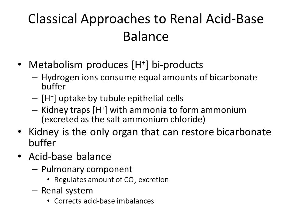 Classical Approaches to Renal Acid-Base Balance Metabolism produces [H + ] bi-products – Hydrogen ions consume equal amounts of bicarbonate buffer – [H + ] uptake by tubule epithelial cells – Kidney traps [H + ] with ammonia to form ammonium (excreted as the salt ammonium chloride) Kidney is the only organ that can restore bicarbonate buffer Acid-base balance – Pulmonary component Regulates amount of CO 2 excretion – Renal system Corrects acid-base imbalances