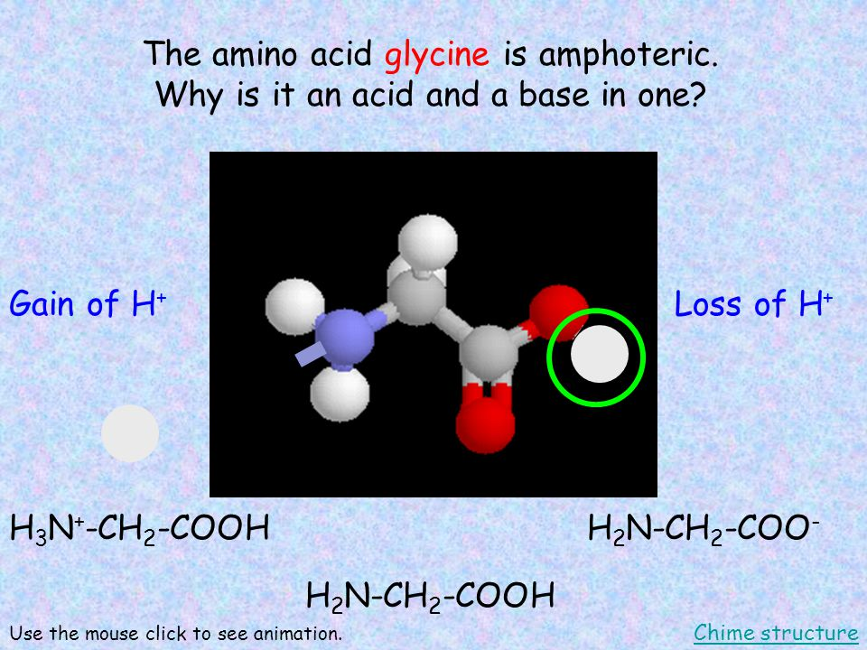 The amino acid glycine is amphoteric. Why is it an acid and a base in one.