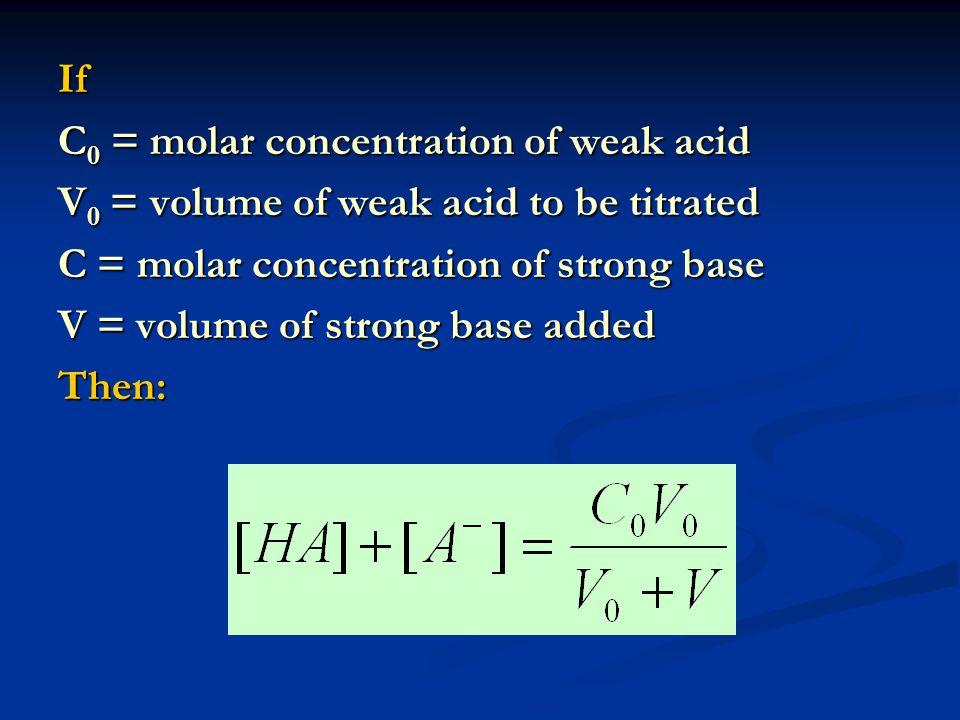 If C 0 = molar concentration of weak acid V 0 = volume of weak acid to be titrated C = molar concentration of strong base V = volume of strong base added Then: