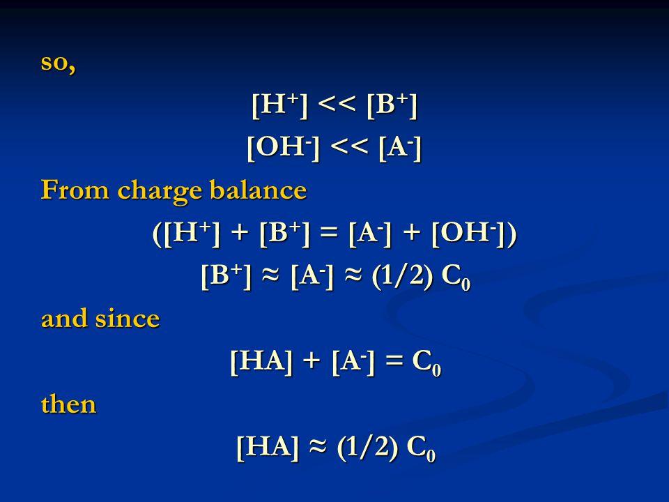 so, [H + ] << [B + ] [OH - ] << [A - ] From charge balance ([H + ] + [B + ] = [A - ] + [OH - ]) [B + ] ≈ [A - ] ≈ (1/2) C 0 and since [HA] + [A - ] = C 0 then [HA] ≈ (1/2) C 0