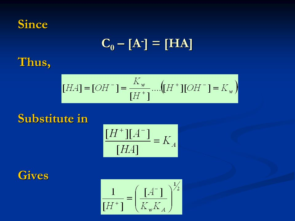 Since C 0 – [A - ] = [HA] Thus, Substitute in Gives