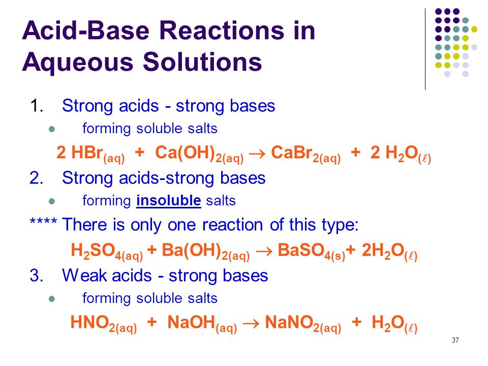 37 Acid-Base Reactions in Aqueous Solutions 1.Strong acids - strong bases forming soluble salts 2 HBr (aq) + Ca(OH) 2(aq)  CaBr 2(aq) + 2 H 2 O ( ) 2