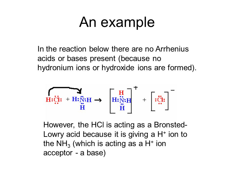 An example In the reaction below there are no Arrhenius acids or bases present (because no hydronium ions or hydroxide ions are formed). However, the