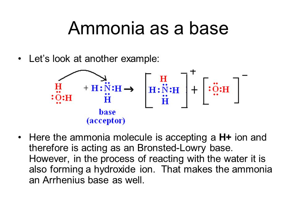 Ammonia as a base Let's look at another example: Here the ammonia molecule is accepting a H+ ion and therefore is acting as an Bronsted-Lowry base. Ho
